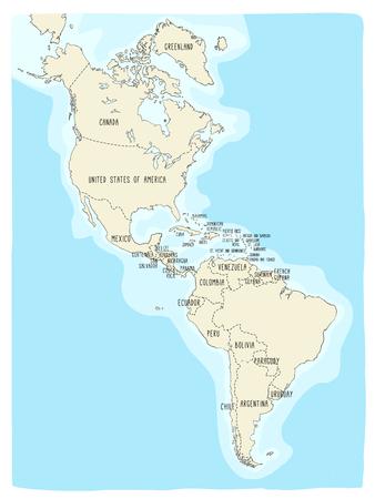 Hand getekend vector kaart van Amerika. Kleurrijke cartoon-stijl cartografie van Noord- en Zuid-Amerika, waaronder de Verenigde Staten, Canada, Mexico, Brazilië, Argentinië, Cuba, Colombia, Venezuela ... Stockfoto - 92661568