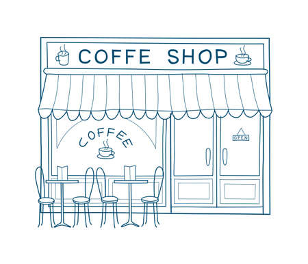 Coffee shop front vector illustration on hand drawn style. Line drawing of the front of cafe and restaurant Vettoriali