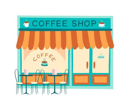 Ejemplo delantero del vector de la cafetería en estilo plano. Dibujo colorido del frente de cafetería y restaurante. Ilustración de vector