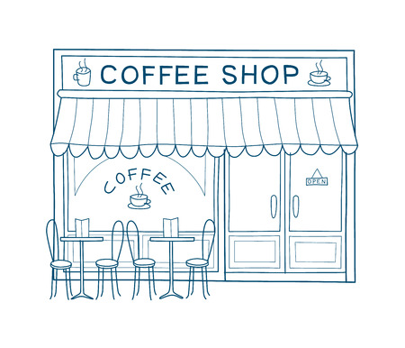 Coffee shop front vector illustration on hand drawn style. Line drawing of the front of cafe and restaurant. Vettoriali
