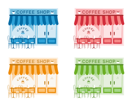 Set of four vector illustrations of coffee shop front on flat style, four different colors. Colorful drawing of the front of cafe and restaurant Illusztráció