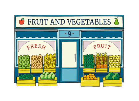 Fruit and vegetables shop front  illustration on hand drawn style. Vettoriali