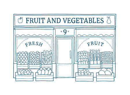 Fruit and vegetables front illustration on hand drawn style. Vettoriali