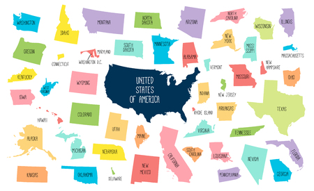 USA map with separated states. Colorful outlines of the 50 states with labels