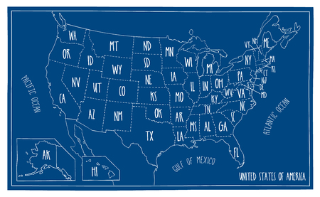 Hand drawn vector map of the USA. Blueprint style cartography of United States of America including all the 50 states. Vettoriali