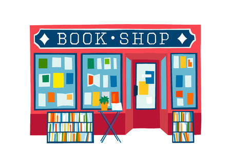book shop front vector illustration. Colorful flat style facade of book store