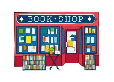Book shop front vector illustration. Colorful hand drawn facade of book store Vettoriali