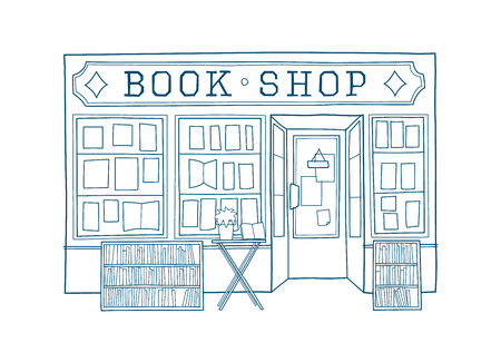 Book shop front vector illustration. Hand drawn facade of book store Vettoriali