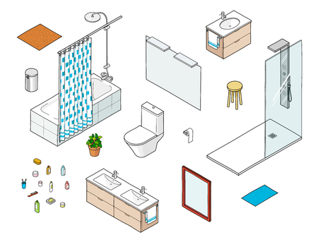 Set of isometric bathroom elements including shower, bathtube, mirror, washbasin Illustration