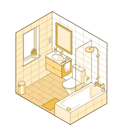 Isometric illustration of bathroom in yellow shades. Hand drawn interior view. Each element on a different layer so you can move them around.