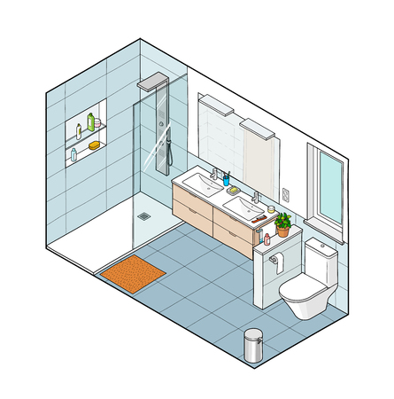 Isometric illustration of bathroom. Hand drawn interior view. Each element on a different layer so you can move them around.