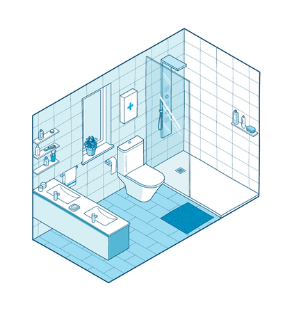 Isometric illustration of bathroom in blue shades. Hand drawn interior view. Each element on a different layer so you can move them around.