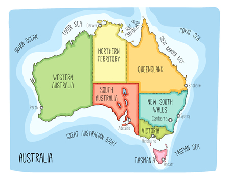 Vector map of Australia. Colorful sketch illustration with territories and capitals