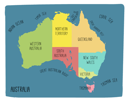 Vector map of Australia. Colorful sketch illustration with territories Vettoriali