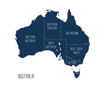 Vector map of Australia. Silhouette with territories