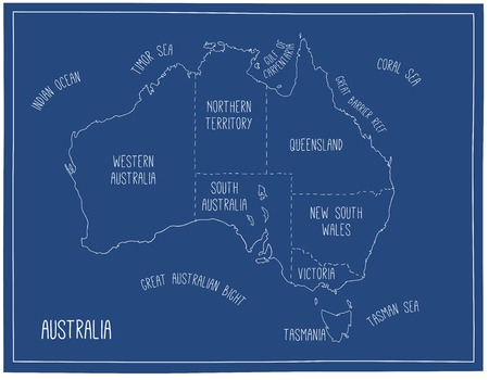 Vector map of Australia. Blueprint sketch illustration with territories and capitals