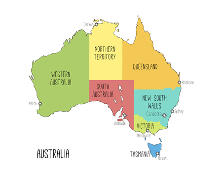 Vector map of Australia. Sketch illustration with territories