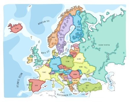 Colorful hand drawn vector map of Europe with countries names. Doodle style