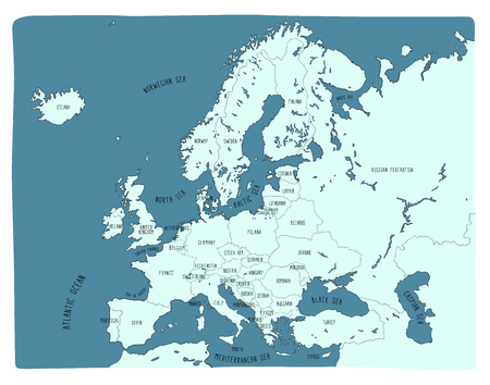 Colorful hand drawn vector map of Europe. Doodle style Vettoriali