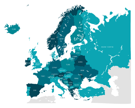 Hand drawn vector map of Europe in shades of blue. Doodle style
