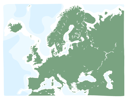 Hand drawn vector map of Europe in green color. Doodle style