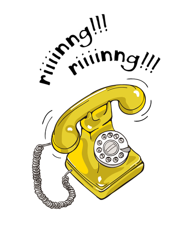 Vintage yellow telephone hand drawn illustration. Sketch style Vectores