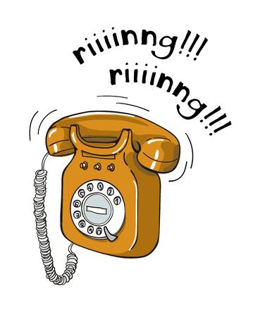 Vintage orange telephone hand drawn illustration. Sketch style Illustration