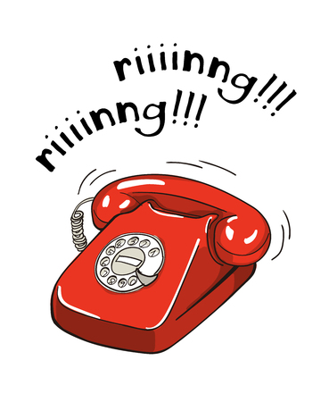 Vintage red telephone hand drawn illustration. Sketch style