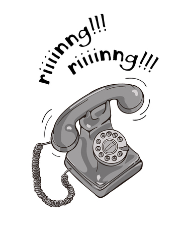 Vintage black and white telephone hand drawn illustration. Sketch style