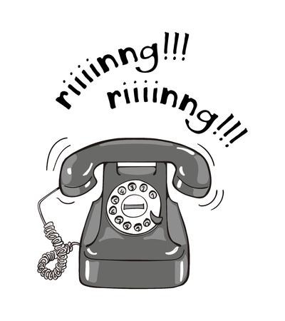 Illustration dessinée à la main de téléphone noir et blanc vintage. Style d'esquisse