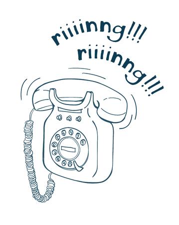Vintage telephone hand drawn line illustration. Sketch style