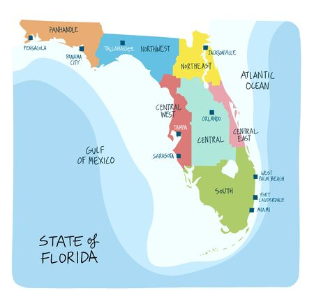 Hand Drawn map of the state of Florida with regions counties and main cities. Colorful sketch style