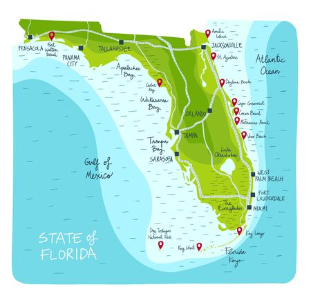Hand Drawn map of the state of Florida with main cities and points of interest. Colorful flat style