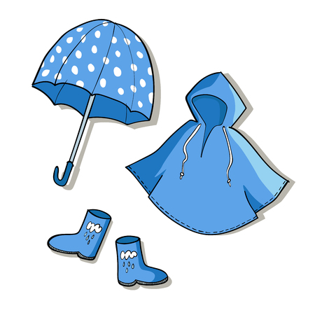 Blue rainy weather clothes.Vector sketch illustrations