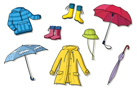 Rainy weather clothes. Colorful vector sketch illustrations collection