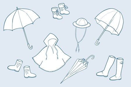 Rainy weather clothes. Vector sketch illustrations collection
