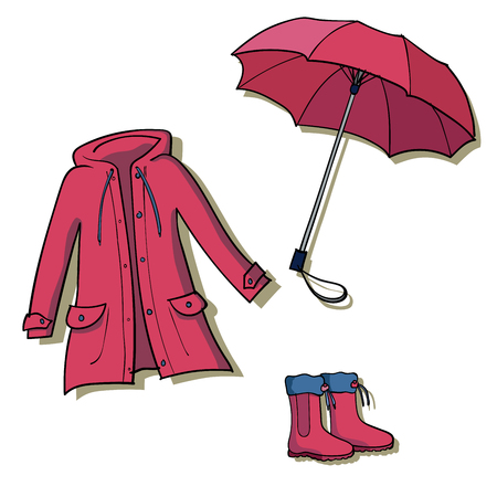 Red rainy weather clothes.Vector sketch illustrations