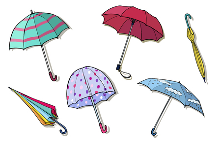 Collection of hand drawn umbrellas. Colorful vector illustration Vettoriali
