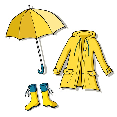 Yellow rainy weather clothes.Vector sketch illustrations Vettoriali