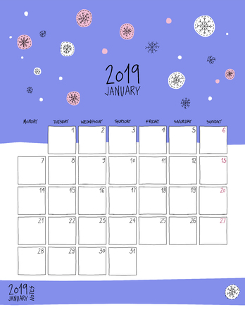 January 2019 wall calendar. Colorful sketch vertical template.Letter size