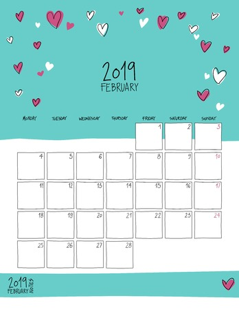 February 2019 wall calendar. Colorful sketch vertical template.Letter size