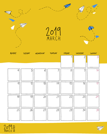 March 2019 wall calendar. Colorful sketch vertical template.Letter size