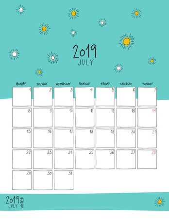 July 2019 wall calendar. Colorful sketch vertical template.Letter size