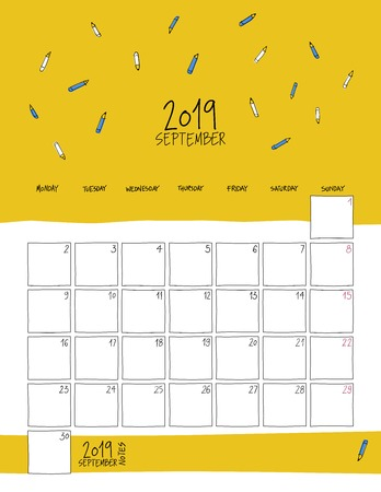 September 2019 wall calendar. Colorful sketch vertical template.Letter size