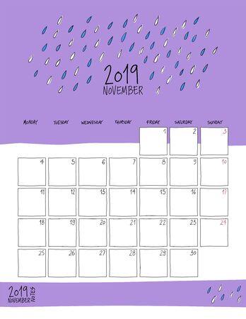 November 2019 wall calendar. Colorful sketch vertical template.Letter size