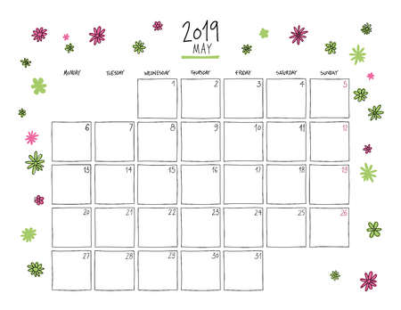 May 2019 wall calendar. Colorful sketch horizontal template.Letter size