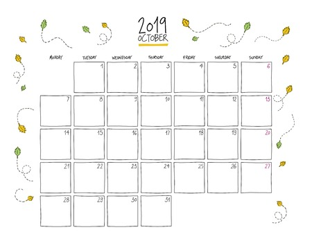October 2019 wall calendar. Colorful sketch horizontal template.Letter size
