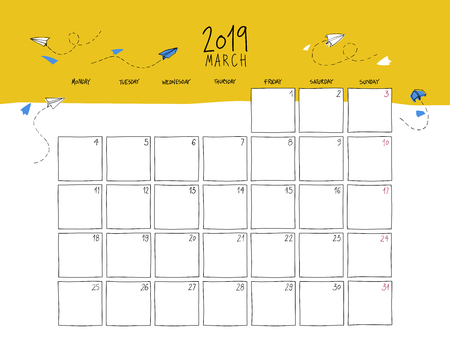 March 2019 wall calendar. Colorful sketch horizontal template. Vettoriali