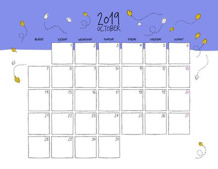 October 2019 wall calendar. Colorful sketch horizontal template.