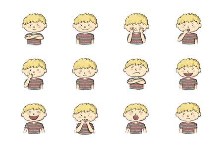 Kleiner Junge, der verschiedene Gefühle zeigt. Sammlung von 12 handgezeichneten bunten Illustrationen auf weißem Hintergrund Vektorgrafik
